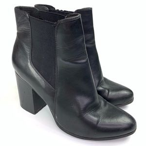 Forever 21 Faux Leather Heeled Booties Black